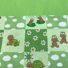 Sac de dormit Buzunar 160 cm Verde cu Broscute Deseda - Lenjerie pat copii
