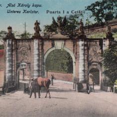 ALBA IULIA, POARTA I A CETATII - Carte Postala Transilvania dupa 1918, Necirculata, Printata