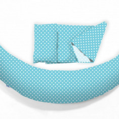 Perna pentru gravide si alaptat DreamWizard 10 in 1 albastru deschis cu buline Nuvita