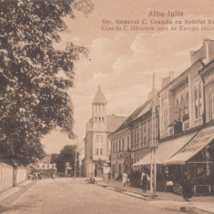 ALBA IULIA HOTEL EUROPA STRADA GENERAL C. COANDA - Carte Postala Transilvania dupa 1918, Necirculata, Printata
