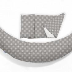 Perna pentru gravide si alaptat DreamWizard 10 in 1 gri cu buline Nuvita