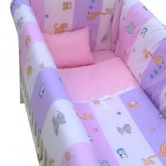 Lenjerie de pat 7 piese Maxi 120 x 60 cm Zoo Roz Deseda - Lenjerie pat copii