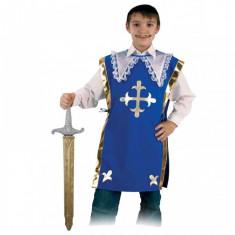 Costum pentru serbare Muschetarul Athos cu sabie 116 cm Fries, Albastru