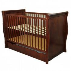 Patut multifunctional Regal Venghe Mamo-Tato - Patut lemn pentru bebelusi, 120x60cm, Maro