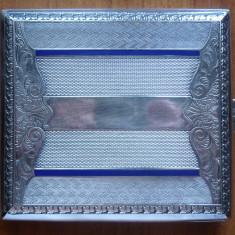Tabachera din argint, interbelica, email, gravata manual ; 102 grame