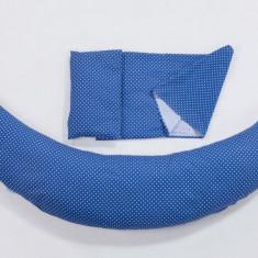 Perna pentru gravide si alaptat DreamWizard 10 in 1 albastru inchis cu buline Nuvita