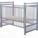 Patut din lemn Jas cu bare 120 x 60 cm Gri BabyNeeds