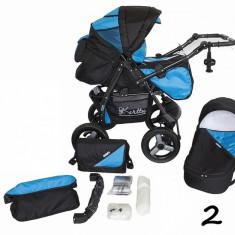 Carucior 2 in 1 Twist-R cu roti gonflabile 2 (Negru cu Albastru) Kerttu - Carucior copii 2 in 1