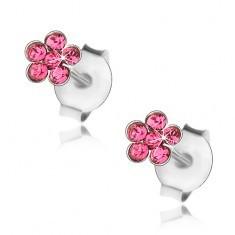Cercei din argint 925, floare cu cristale Swarovski roz - Cercei argint