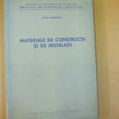 Materiale de constructii si instalatii O. Manolescu Bucuresti 1962