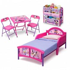 Set patut, organizator metalic si masuta cu doua scaunele Deta Children Minnie Mouse Delta Children