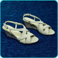 NOI → Sandale dama, calitate, piele, usoare, fiabile, 5th AVENUE → femei | nr 41, Culoare: Crem, Piele naturala