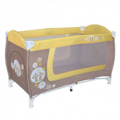 Patut pliant Danny 1 nivel Beige & Yellow Daisy Bears Lorelli - Patut pliant bebelusi