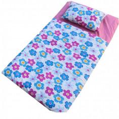 Sac de dormit Buzunar 190 cm Roz cu Floricele Deseda - Lenjerie pat copii