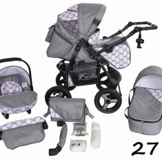 Carucior 3 in 1 Twist-R 27 (Gri cu Buline Roz) Kerttu - Carucior copii 3 in 1