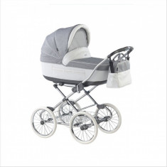 Carucior copii 2 in 1 Marita Prestige Chrome S165 (Gri cu Alb) Roan