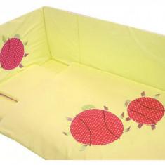 Lenjerie 7 piese Gargarite pentru patut 120 x 60 cm Galben Deseda - Lenjerie pat copii