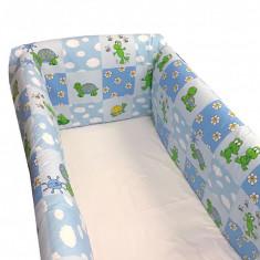 Aparatori laterale pentru pat Maxi 120 x 60 cm Broscute Albastru Deseda - Lenjerie pat copii