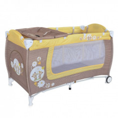 Patut pliant Danny 2 nivele Beige & Yellow Daisy Bears Lorelli - Patut pliant bebelusi