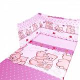 Set lenjerie 5 piese 100x135 Ursuleti (roz) Kieczmerski - Lenjerie pat copii