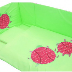 Lenjerie 7 piese Gargarite pentru patut 120 x 60 cm Verde Deseda - Lenjerie pat copii