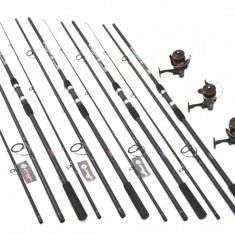 Set 4 Lansete Crap 3, 9m Cu 4 Mulinete 6000 Cu 10 Rulmenti Si Bait Runner - Set pescuit