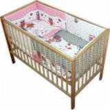 Lenjerie patut copii Hubners Bufnite 5 piese roz - Lenjerie pat copii