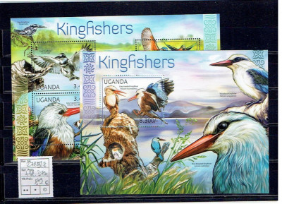 Uganda - kingfishers - 2785/8+bl.374 foto
