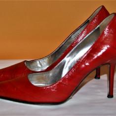 Pantofi rosii stiletto Dolce & Gabbana originali - Pantof dama D&G, Culoare: Rosu, Marime: 38, Piele naturala, Cu toc