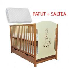 Patut din lemn Giraffe Natur + Saltea Cocos - Patut lemn pentru bebelusi