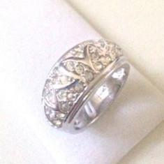Inel VERIGHETA- argint placat cu aur 18k si SWAROVSKI- marimea 9, 19mm/ 60mm - Inel fashion