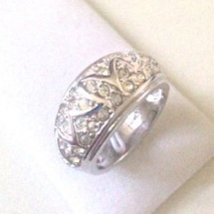 Inel VERIGHETA-argint placat cu aur 18k aplicat cu SWAROVSKI- marimea 8, 18mm - Inel placate cu aur