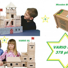 Big Set Vario Box 378 piese - Set Cufar Walachia jucarii din lemn - Set de constructie Walachia, Unisex