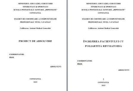 LUCRARE DE LICENTA AMG – INGRIJIREA PACIENTILOR CU POLIARTRITA REUMATOIDA (1)