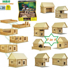 Set constructie VARIO 72 piese Walachia jucarii din lemn 7 in 1 - Set de constructie Walachia, Unisex