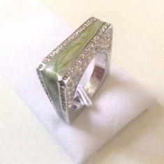 Inel verde-verigheta- argint placat cu aur 18k - marimea 9, 19mm/60mm-STANTAT - Inel placate cu aur