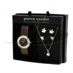 PIERRE CARDIN Set Ceas, Colier si Cercei Aurii - Lantisor inox