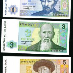 KAZAHSTAN - Set 9 bancnote - 1, 3, 5 Tenge si 1, 2, 5, 10, 20, 50 Tiin - 1993 - UNC - bancnota asia