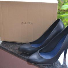 Pantofi negri, Zara, marime 39 - Pantof dama Zara, Culoare: Negru, Cu toc