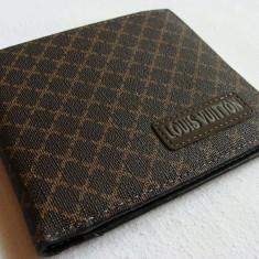Portofel L V classic mat zintat marou cu linii aurii, logo L V cusut in fata, nou - Portofel Barbati Louis Vuitton