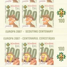CERCETASI,EUROPA CEPT 2007,MINISHEET DE 6 SERII MNH ROMANIA.