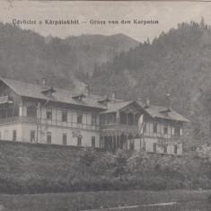 SALUTARI DIN CARPATI CIRCULATA 1915 POSTA GERMANA FELDPOSTSTATION - Carte Postala Bucovina 1904-1918, Printata