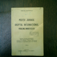 Pozitii juridice in dreptul international Problema minoritatilor - Vintila I. Gaftoescu - Carte Drept international