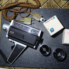 Camera video vintage Bell & Howell Filmosound 8 / 2 obiective +cabluri - Aparat Filmat