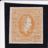 ROMANIA 1865  LP 15  ALEXANDRU  I. CUZA  2 PARALE PORTOCALIU POINCON L. PASCANU, Nestampilat