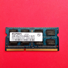 Memorie laptop 2 GB RAM DDR3ELPIDA 2Rx8 PC3-8500S-7-10-F1 1066MHz /2GB DDR3 - Memorie RAM laptop