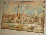 Ulei pe panza scoala romaneasca lucrare in cutit, Peisaje, Realism
