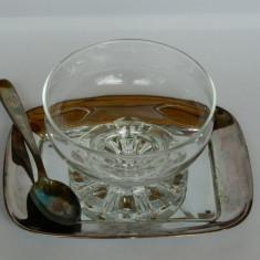 Pahar inghetata cu tavita si lingurita WMF argintate, Tava
