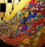Pictura tehnica mixta ornamente pictate reliefate Tablou Abstract Gustav Klimt 2, Ulei