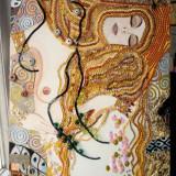 Pictura tehnica mixta ornamente pictate reliefate Tablou Abstract Gustav Klimt 9 - Pictor roman, Ulei